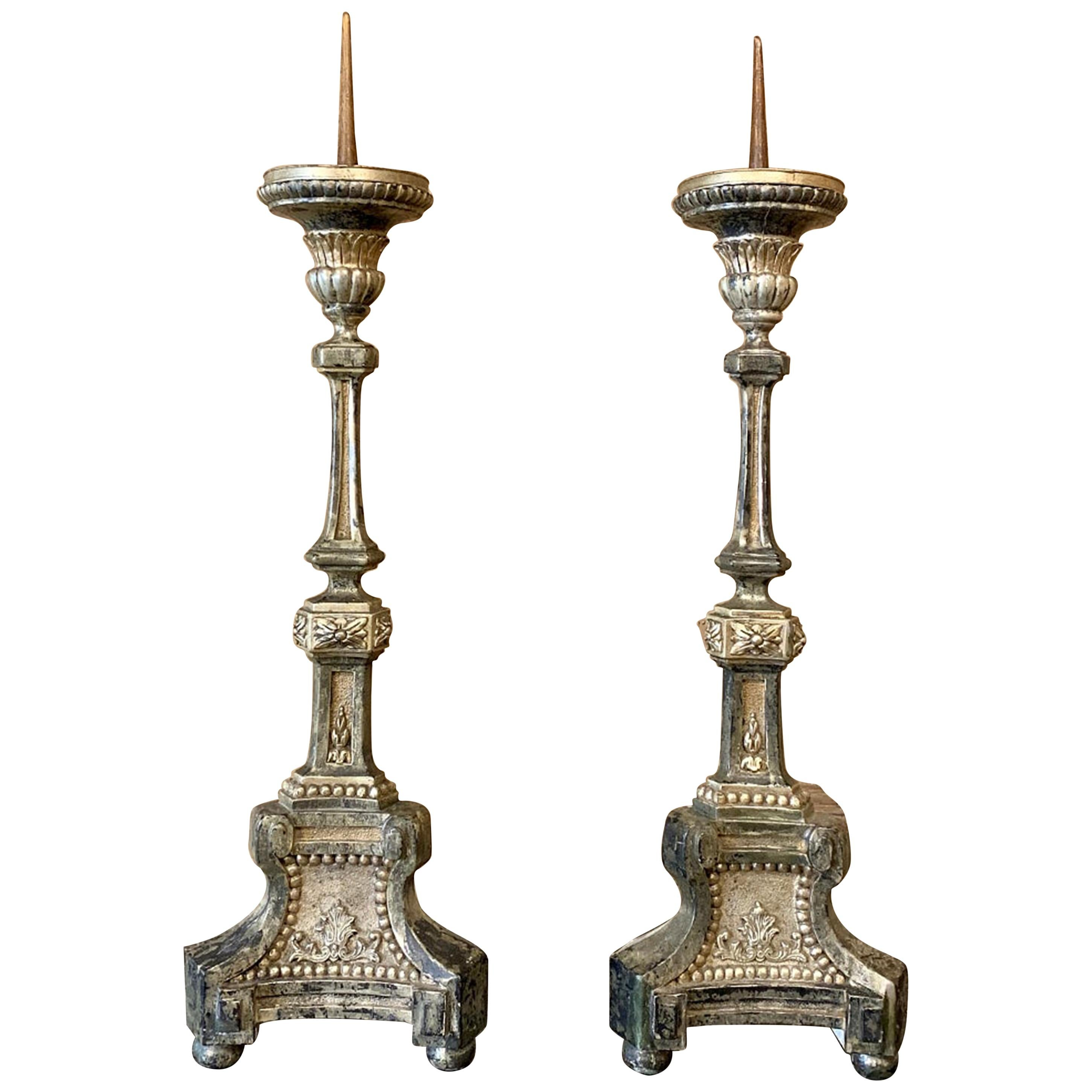 Pair of Candlesticks, 18th Century Italian Neoclassical Polychrome