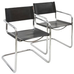 Pair of Cantilevered Chrome and Leather Armchairs after Mart Stam, c.