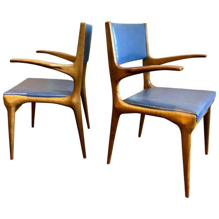 Pair of Carlo De Carli Model 162 Armchairs For Sale