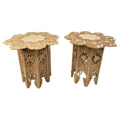 Pair Carved Indian Late Raj Period Folding Tabouret Tables