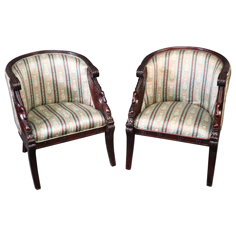 Pair of Carved Mahogany English Regency Swan Tub Style Club Chairs, circa 1950