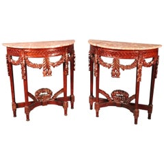 Pair of Carved Mahogany Marble-Top Petite Demilune Console Tables