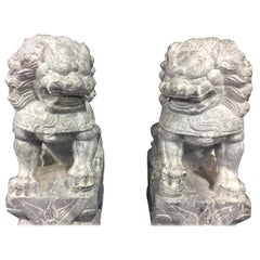 Pair of Carved Stone Foo Dogs
