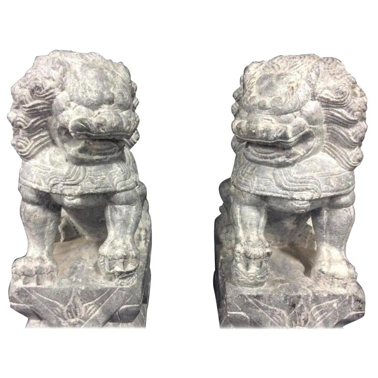 Pair of Carved Stone Foo Dogs For Sale