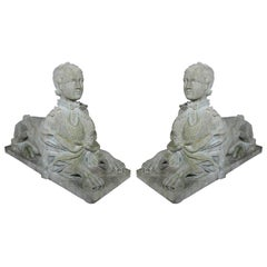 PAIR CARVED STONE SPHINXES