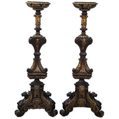Pair of Carved Walnut and Gilt Renaissance Revival Torchiers