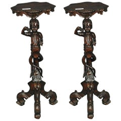 Pair of Carved Walnut Figural Italian Renaissance Pedestal Stand Side Tables