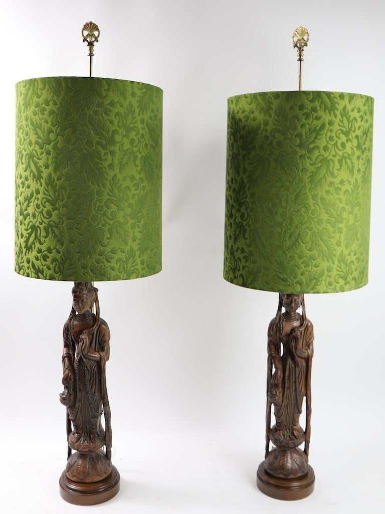 Hollywood Regency Pair of Carved Wood Tibetan Buddha Table Lamps For Sale