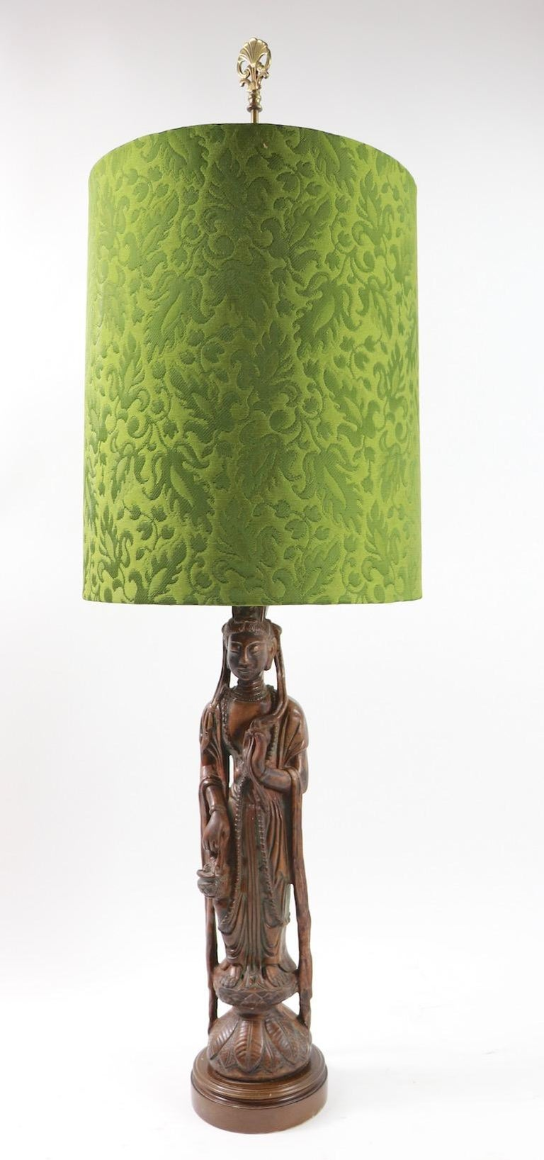 American Pair of Carved Wood Tibetan Buddha Table Lamps For Sale