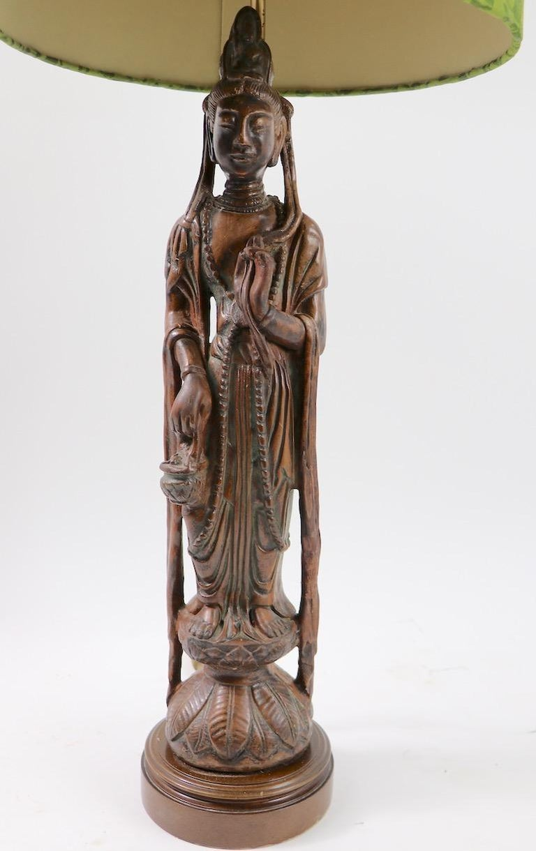 20th Century Pair of Carved Wood Tibetan Buddha Table Lamps For Sale