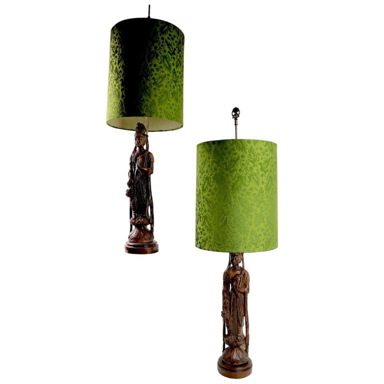 Pair of Carved Wood Tibetan Buddha Table Lamps For Sale