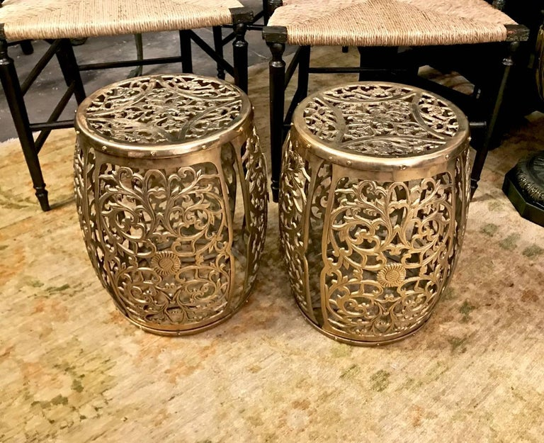 Chinoiserie Pair of Cast Brass Garden Stools, Scrolling Vines, circa 1960 For Sale