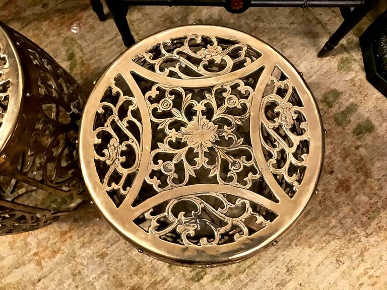 Unknown Pair of Cast Brass Garden Stools, Scrolling Vines, circa 1960 For Sale