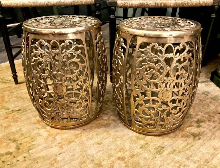 Mid-20th Century Pair of Cast Brass Garden Stools, Scrolling Vines, circa 1960 For Sale