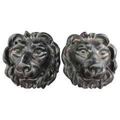 Pair of Cast Iron Lion Head Wall Ornament Fountains