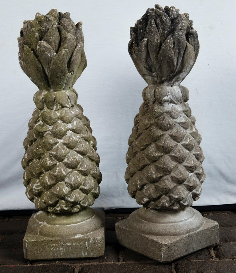 Pair of Cast Stone Pineapple Garden Ornaments For Sale 5