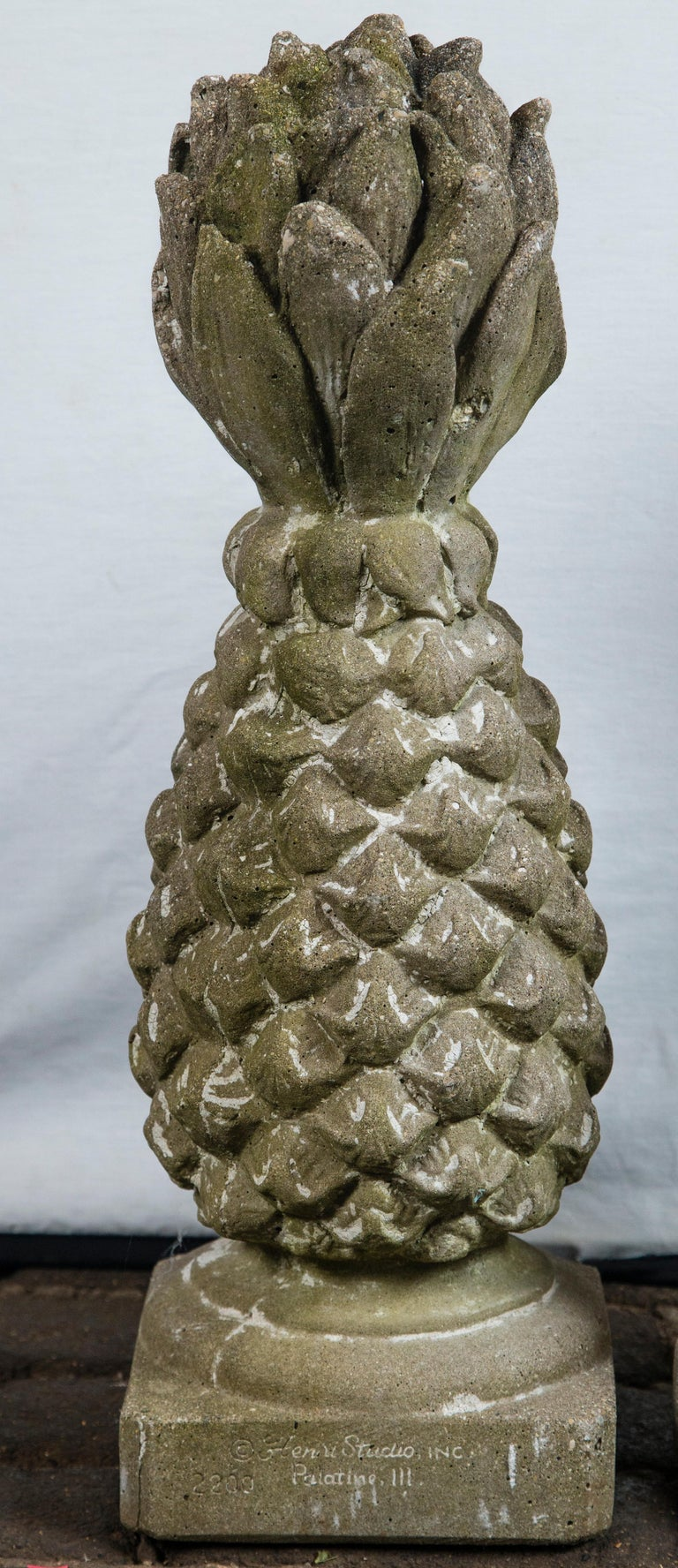 American Pair of Cast Stone Pineapple Garden Ornaments For Sale