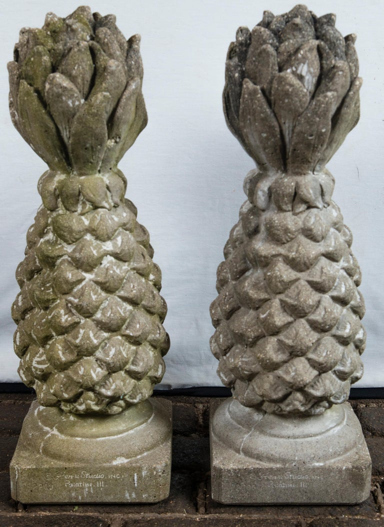 Mid-20th Century Pair of Cast Stone Pineapple Garden Ornaments For Sale