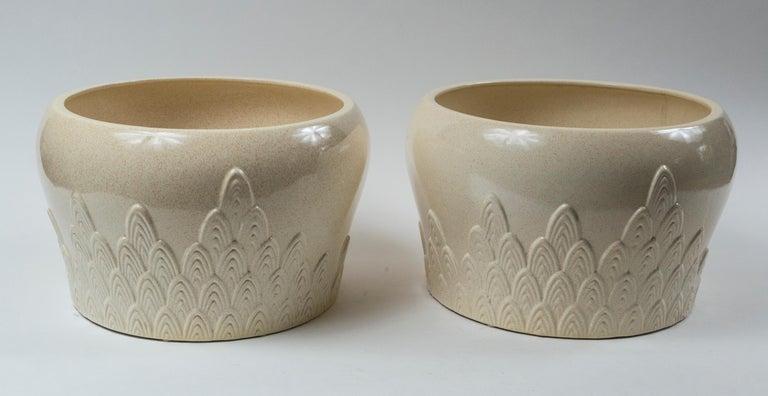 Italian Pair of Ceramic Planters, Tommaso Barbi, Italy, Mid-20th Century For Sale