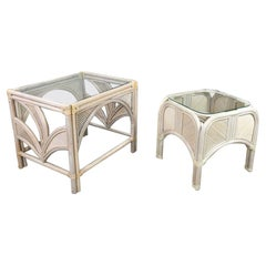 Pair Cerused Reeded Rattan End Tables Glass Tops Organic Modern Palm Leaf Design