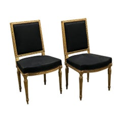 Pair of Chairs, 19th Century French Louis XVI Giltwood
