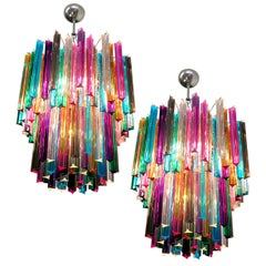 Pair of Chandelier Multi-Color Triedri, Murano, 1970s