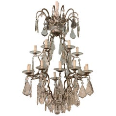 Pair Chandeliers Silvered Bronze Crystal Pendents 18-L. Florence Manifacture
