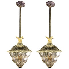 """Pair of Chandeliers """"The King"""", Gold Inclusion by Barovier & Toso, Murano, 1940s"""