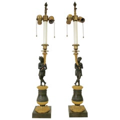 Pair of Charles X Gilt and Patinated Bronze Figural Candlestick Lamps