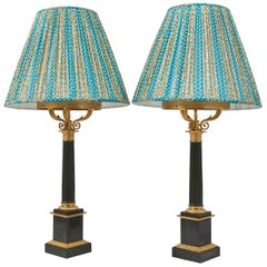 Pair of Charles X Patinated French Bronze Column Lamps, circa 1830