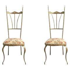 Pair of Chiavari Brass Side Chairs