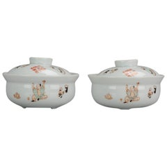 Pair of China 20th-21st Century Figural Calligraphy Bowls Chinese Porcelain PROC