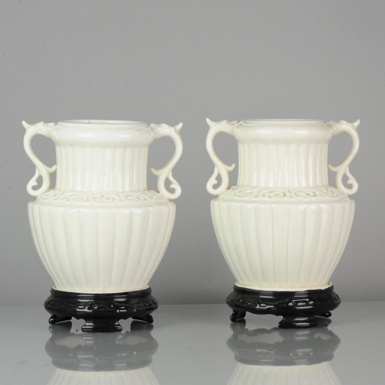 Pair of Chinese 1978 Dehua Monochrome White Porcelain Vases China PRoC For Sale 6