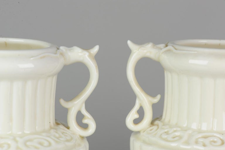 Pair of Chinese 1978 Dehua Monochrome White Porcelain Vases China PRoC For Sale 7