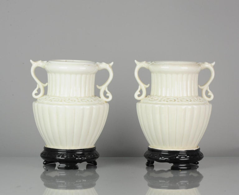 Pair of Chinese 1978 Dehua Monochrome White Porcelain Vases China PRoC In Excellent Condition For Sale In Amsterdam, Noord Holland