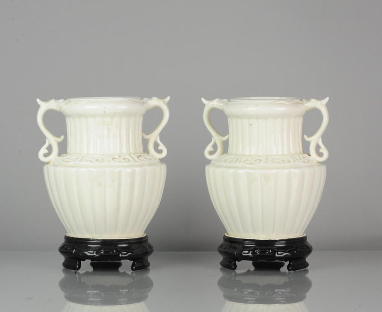 Pair of Chinese 1978 Dehua Monochrome White Porcelain Vases China PRoC For Sale 1