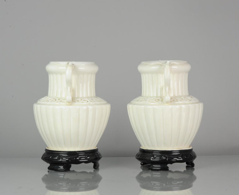 Pair of Chinese 1978 Dehua Monochrome White Porcelain Vases China PRoC For Sale 2