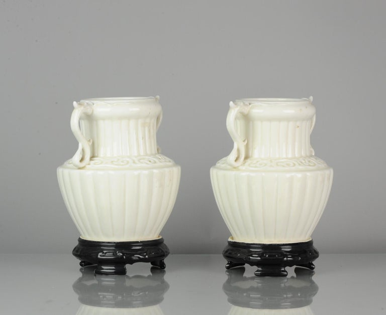 Pair of Chinese 1978 Dehua Monochrome White Porcelain Vases China PRoC For Sale 3