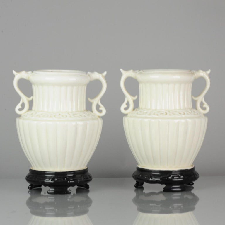 Pair of Chinese 1978 Dehua Monochrome White Porcelain Vases China PRoC For Sale 4