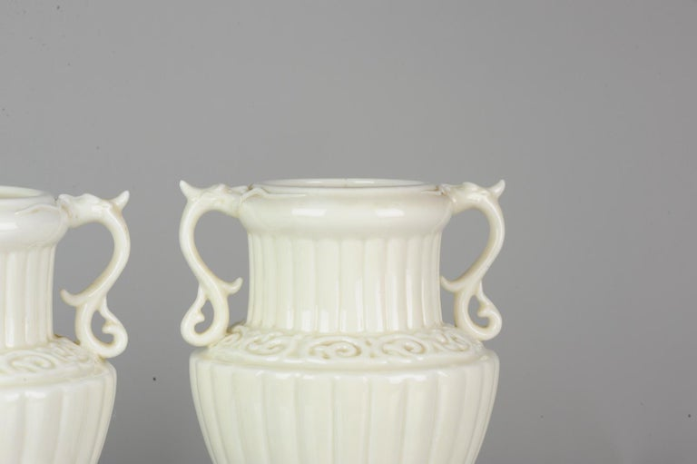 Pair of Chinese 1978 Dehua Monochrome White Porcelain Vases China PRoC For Sale 5