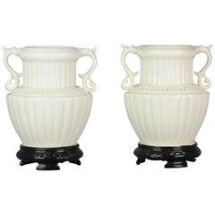 Pair of Chinese 1978 Dehua Monochrome White Porcelain Vases China PRoC