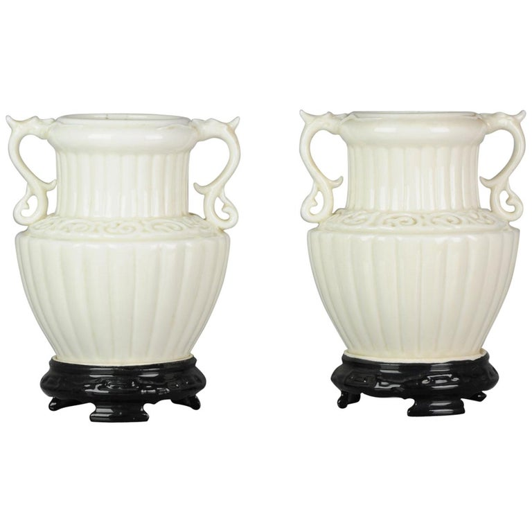 Pair of Chinese 1978 Dehua Monochrome White Porcelain Vases China PRoC For Sale