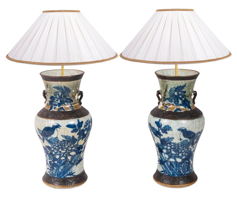 Pair of Chinese Blue and White Crackelware Vases, circa 1900 For Sale 2
