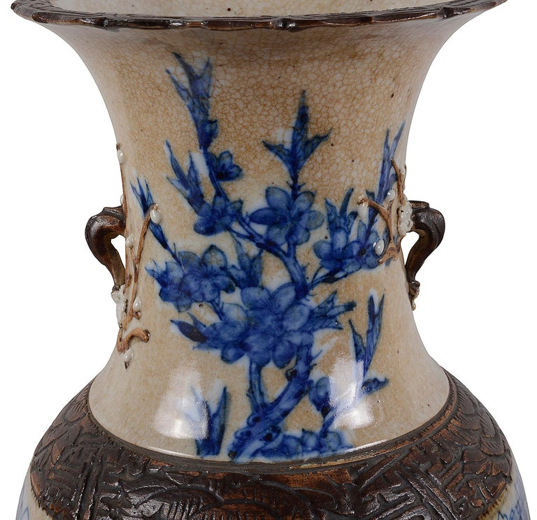 Chinese Export Pair of Chinese 19th Century Blue and White Crackleware Vases / Lamps For Sale