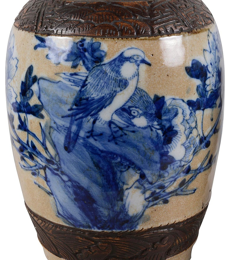 Hand-Painted Pair of Chinese 19th Century Blue and White Crackleware Vases / Lamps For Sale