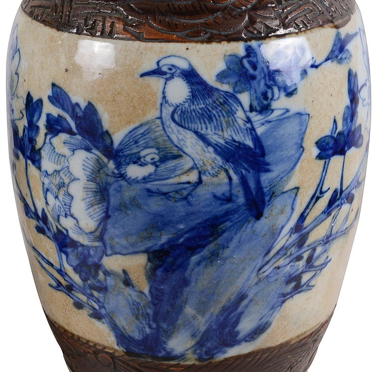 Pair of Chinese 19th Century Blue and White Crackleware Vases / Lamps In Good Condition For Sale In Brighton, Sussex