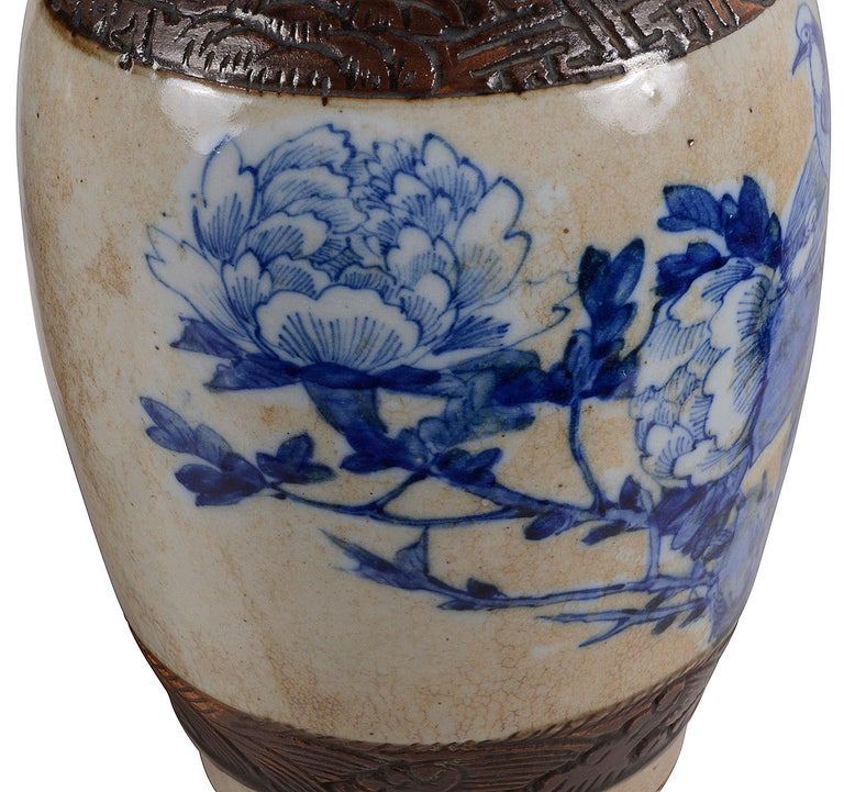 Pair of Chinese 19th Century Blue and White Crackleware Vases / Lamps For Sale 2