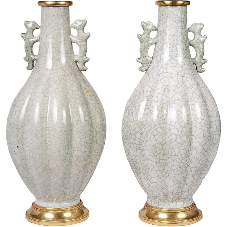 Pair of Chinese 19th Century Crackel Ware Vases