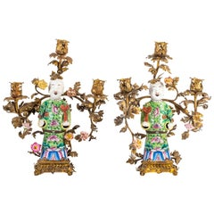 Pair of Chinese 19th Century Porcelain and Ormolu Candelabra