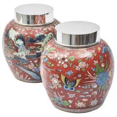 Pair of Chinese 19th Century Red Clobberware Porcelain Jars
